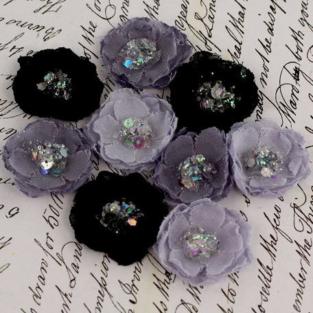 Prima - Tasha Collection - Fabric Flower Embellishments - Midnight