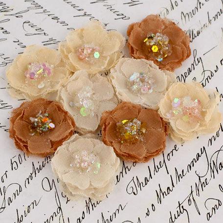 Prima - Tasha Collection - Fabric Flower Embellishments - Caramel