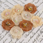 Prima - Tasha Collection - Fabric Flower Embellishments - Caramel