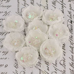 Prima - Tasha Collection - Fabric Flower Embellishments - Frost