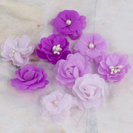 Prima - Lady Godivas Collection - Fabric Flower Embellishments - Grape Ice