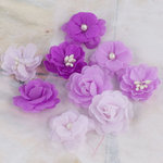 Prima - Lady Godivas Collection - Fabric Flower Embellishments - Grape Ice