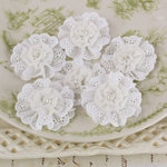 Prima - Manette Collection - Fabric Flower Embellishments - White