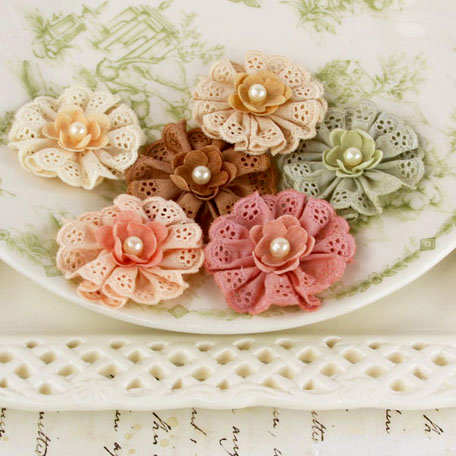 Prima - Manette Collection - Fabric Flower Embellishments - Antique