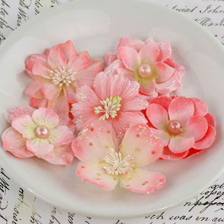 Prima - Charlotte Collection - Fabric Flower Embellishments - Coral Ice