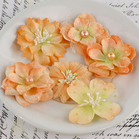 Prima - Charlotte Collection - Fabric Flower Embellishments - Melon