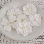 Prima - Charlotte Collection - Fabric Flower Embellishments - Snow