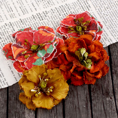 Prima - Fabrique Collection - Fabric Flower Embellishments - Persimmon