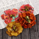 Prima - Fabrique Collection - Fabric Flower Embellishments - Persimmon