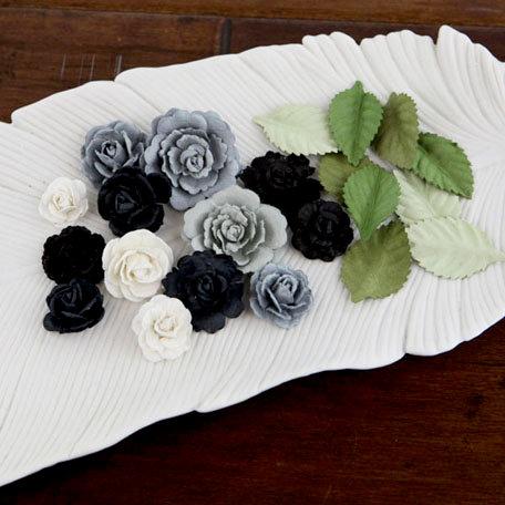 Prima - Laraine Collection - Flower Embellishments - Black Tie