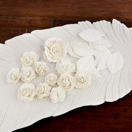Prima - Laraine Collection - Flower Embellishments - Pearl White