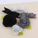 Prima - Marcelle Collection - Fabric Bow and Flower Embellishments - Tuxedo