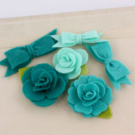 Prima - Marcelle Collection - Fabric Bow and Flower Embellishments - Overture
