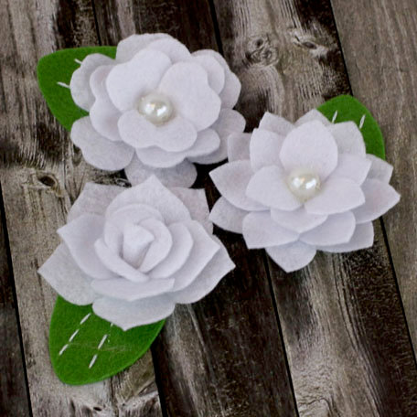 Prima - Hermosa Collection - Fabric Flower Embellishments - White