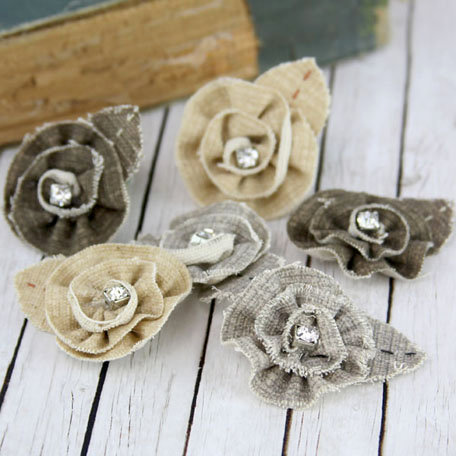 Prima - Tattered Treasures Collection - Fabric Flower Embellishments - Bark
