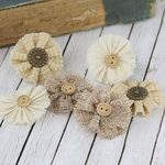 Prima - Tattered Treasures Collection - Fabric Flower Embellishments - Wheat