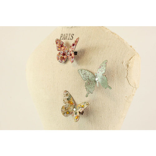 Prima - Fabric Butterfly Embellishments - Vintage