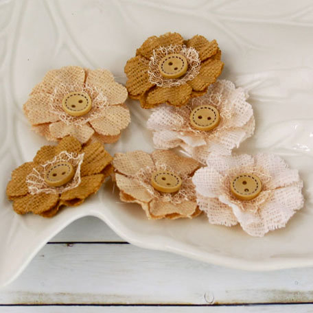 Prima - Primmers Collection - Fabric Flower Embellishments - Peanut