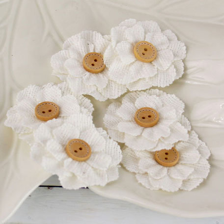Prima - Primmers Collection - Fabric Flower Embellishments - White Cotton