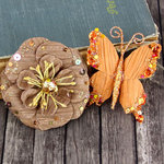 Prima - Soiree Collection - Butterfly and Flower Embellishments - Copper