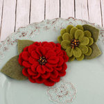 Prima - Cascade Collection - Fabric Flower Embellishments - Holiday