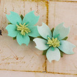 Prima - Merelle Collection - Fabric Flower Embellishments - Teal Ice