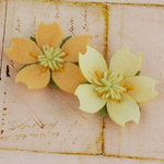 Prima - Merelle Collection - Fabric Flower Embellishments - Apricot
