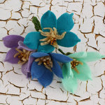 Prima - Cassie Collection - Fabric Flower Embellishments - Periwinkle