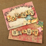Prima - Romance Novel Collection - Wood Embellishments - Scrabble Words - Journey, Beauty