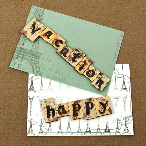 Prima - Welcome to Paris Collection - Wood Embellishments - Scrabble Words - Vacation, Happy