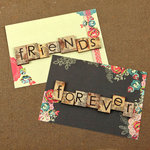 Prima - Rosarian Collection - Wood Embellishments - Scrabble Words - Friends, Forever