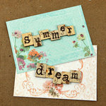 Prima - Zephyr Collection - Wood Embellishments - Scrabble Words - Summer, Dream