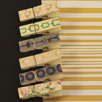 Prima - Tea-Thyme Collection - Canvas Covered Wood Clips