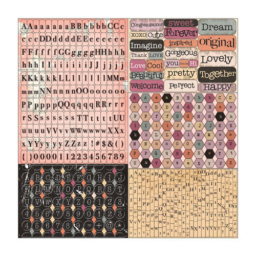 Prima - Rondelle Collection - Cardstock Stickers - Tiny Alphabets