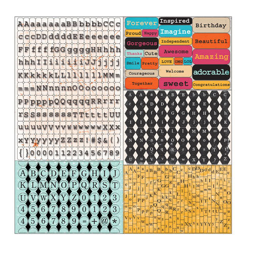 Prima - Zephyr Collection - Cardstock Stickers - Tiny Alphabets