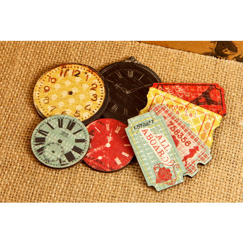 Prima - Welcome to Paris Collection - Wood Embellishments - Clocks and Tickets