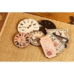 Prima - Rondelle Collection - Wood Embellishments - Clocks and Tickets