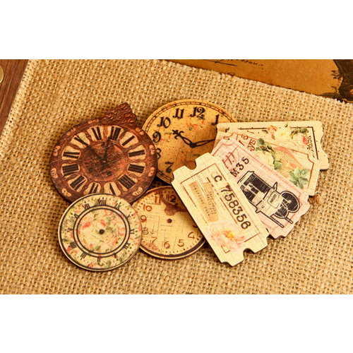 Prima - Tea-Thyme Collection - Wood Embellishments - Clocks and Tickets