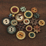 Prima - Craftsman Collection - Wood Embellishments - Buttons