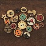 Prima - Romance Novel Collection - Wood Embellishments - Buttons