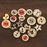 Prima - Rondelle Collection - Wood Embellishments - Buttons