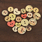 Prima - Tea-Thyme Collection - Wood Embellishments - Buttons