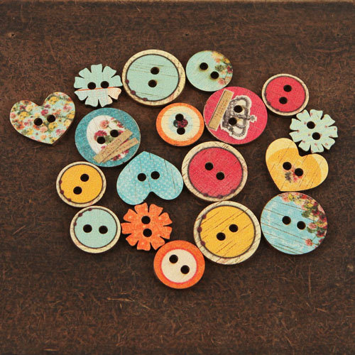 Prima - Zephyr Collection - Wood Embellishments - Buttons
