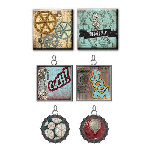 Prima - Craftsman Collection - Vintage Trinkets - Art Tiles and Metal Embellishments