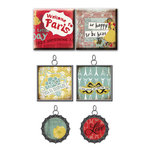 Prima - Welcome to Paris Collection - Vintage Trinkets - Art Tiles and Metal Embellishments