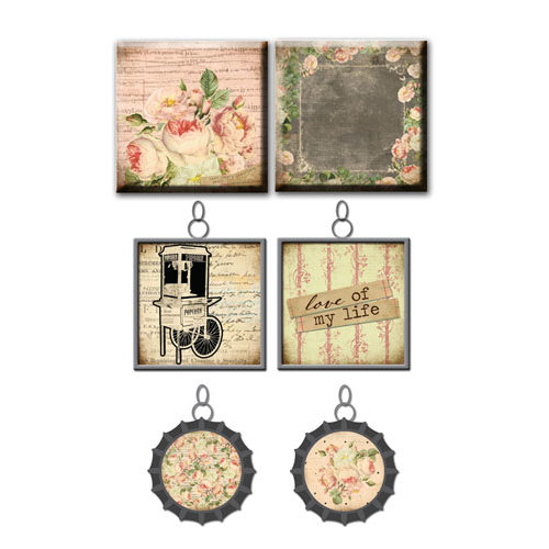Prima - Tea-Thyme Collection - Vintage Trinkets - Art Tiles and Metal Embellishments