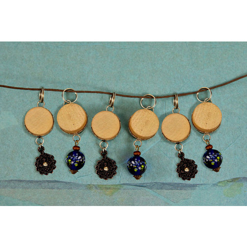 Prima - Vintage Trinkets - Wood Dangles with Beads