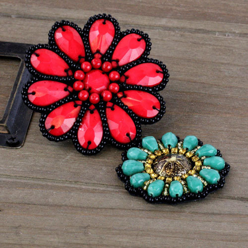 Prima - Taos Collection - Bead and Fabric Flower Embellishments - Rosarian