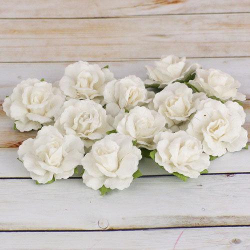 Prima - Encore Collection - Paper Flower Embellishments - White