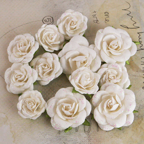 Prima - Interlude Collection - Flower Embellishments - White